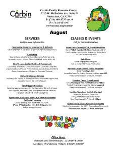 Corbin Aug Calendar @ Corbin FRC |  |  |