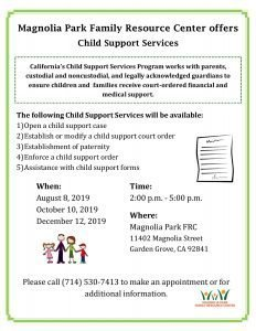 Child Support Services @ Magnolia Park Family Resource Center  |  |  |