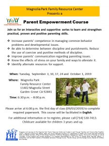 Parent Empowerment Course @ Magnolia Park Family Resource Center  |  |  |