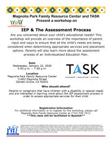 IEP & The Assessment Process (Spanish) @ Magnolia Park Family Resource Center  |  |  |
