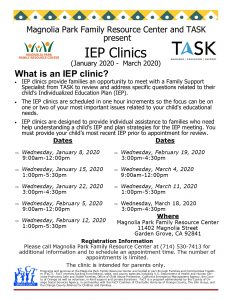 Individualized Education Plan Clinics @ Magnolia Park Family Resource Center  |  |  |