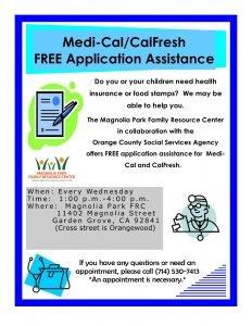 Medi-Cal/CalFresh Free Application Assistance @ Magnolia Park Family Resource Center  |  |  |