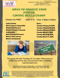 Stress Management Group (Ages 11-12) @ Magnolia Park Family Resource Center  |  |  |