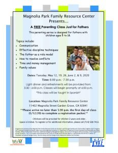 Parenting Class just for FATHERS (Spanish) @ Magnolia Park Family Resource Center